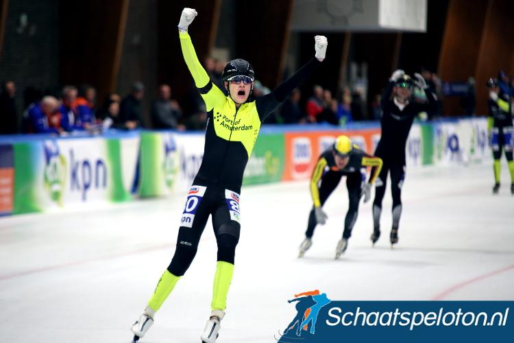Niels Immerzeel won het Nederlands Kampioenschap marathonschaatsen voor studenten.
