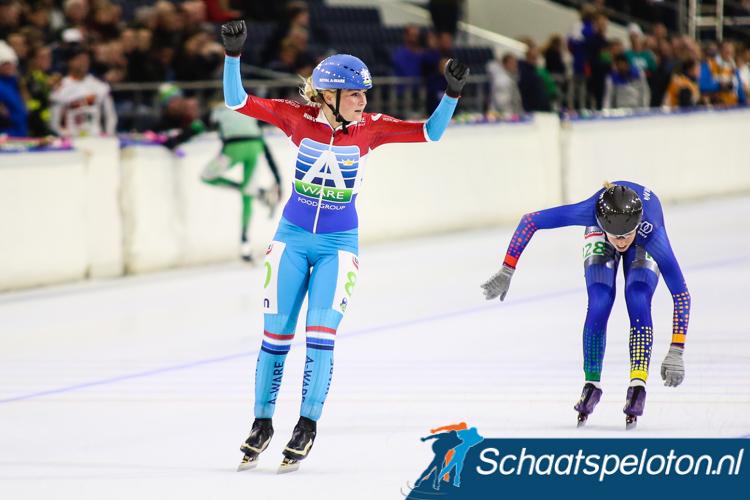 Irene Schouten was de snelste over 80 ronden, Annouk van der Weijden moest genoegen nemen met de tweede plaats.