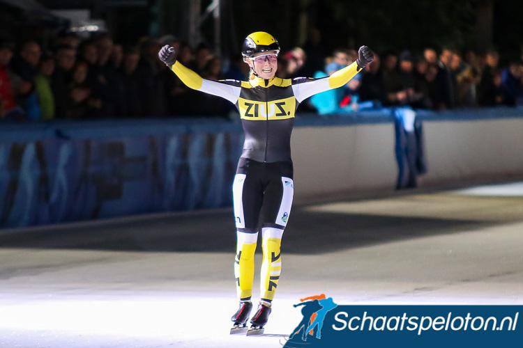 Wereldkampioene massastart Marijke Groenewoud won vorig seizoen de schaatsmarathon in Amsterdam.