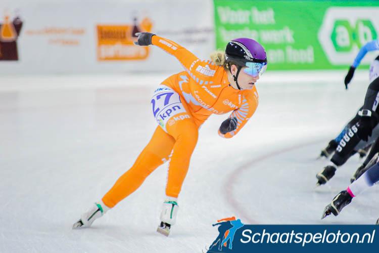 Arianna Pruisscher reed dit hele seizoen in het oranje leiderspak bij de beloftendames.