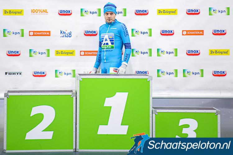 Arjan Stroetinga mocht in totaal al 99e keer plaatsnemen op het podium.