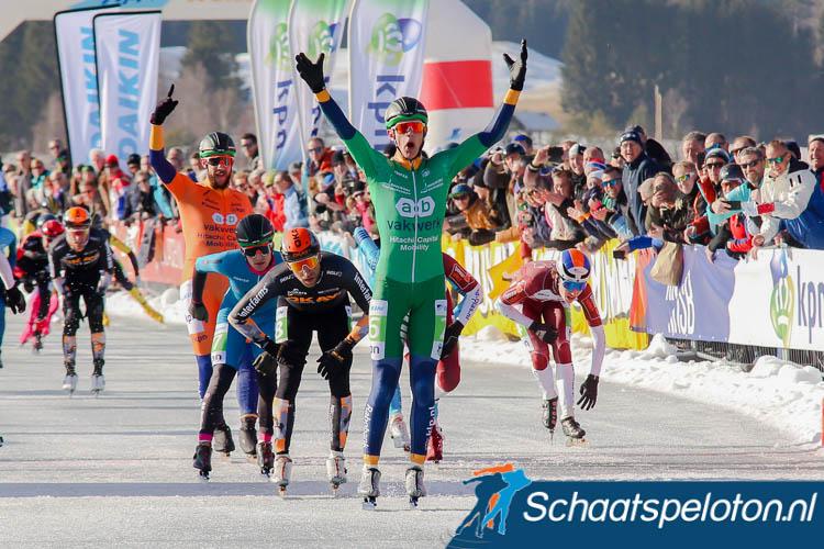Bart Hoolwerf wint de tweede KPN Grand Prix-wedstrijd op de Weissensee.