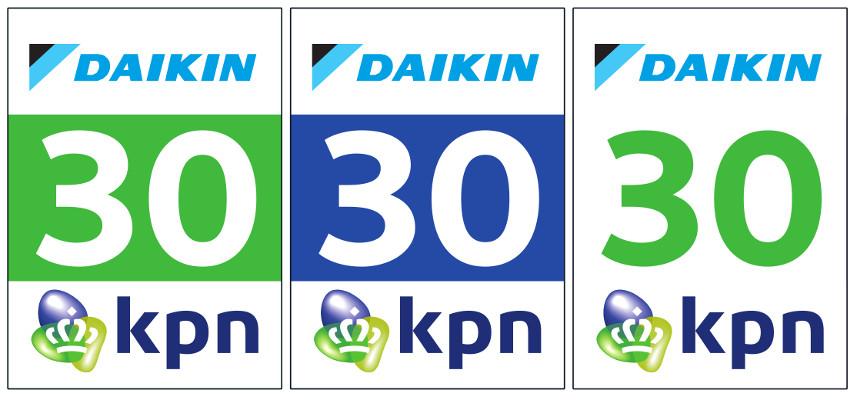 De beennummers van, van links naar rechters, de topdivisieheren, de beloftenheren en de topdivisiedames.