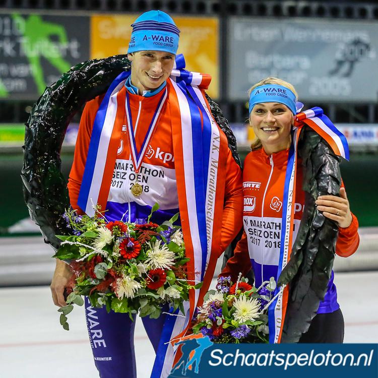 Respectievelijk 745.000 en 679.000 kijkers zagen Simon en Irene Schouten kampioen van Nederland worden.