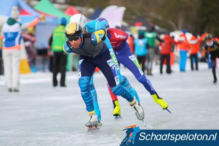 Erwin Mesu op de Weissensee op weg naar de zesde plaats in naar nu blijkt zijn laatste Alternatieve Elfstedentocht.