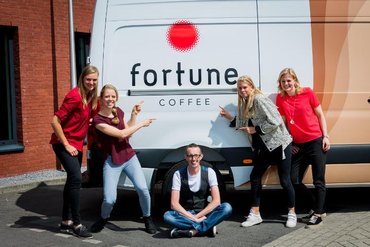 Team Fortune Coffee met vlnr Claudia Oranje, Heleen van der Hulst, Remco de Mik, Brit Qualm en Rosalie Huisman