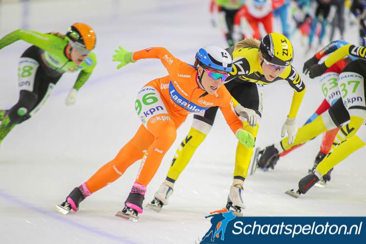 Francesca Lollobrigida reed afgelopen winter enkele wedstrijden in het oranje leiderspak van de KPN Marathon Cup.