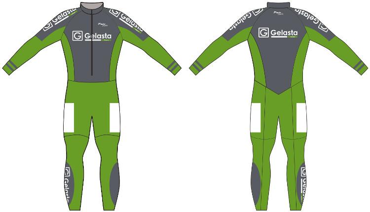De bedrijfskleuren groen/grijs van Gelasta zijn in samenwerking met Muta Sport verwerkt in het marathonpak.