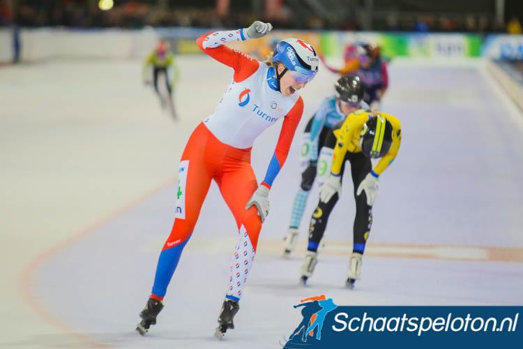 Iris van der Stelt pakt in Tilburg haar eerste overwinning van het seizoen.