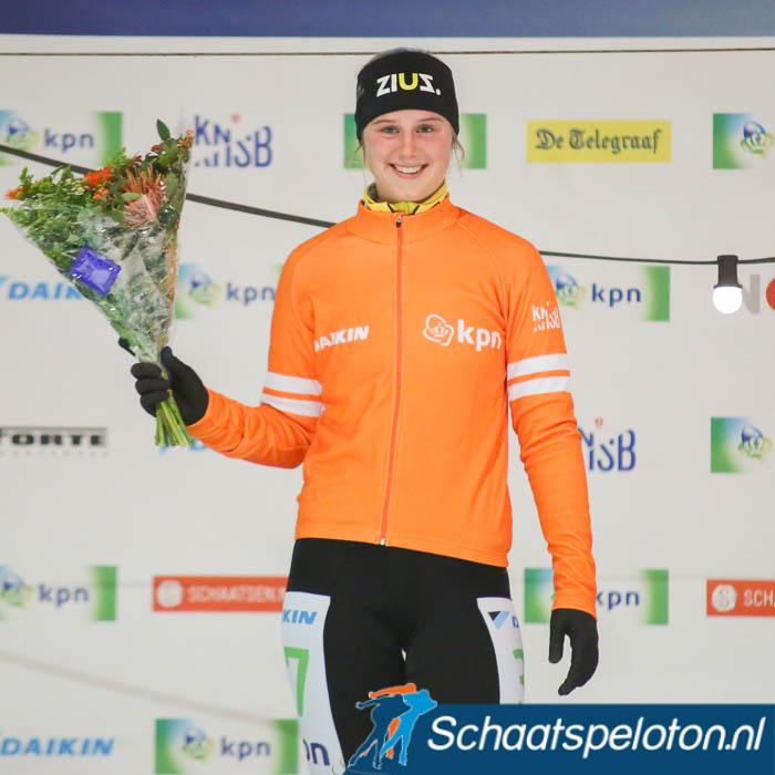 Kelly Schouten mocht zich drie weken terug in Haarlem voor het eerst in het oranje hijsen.