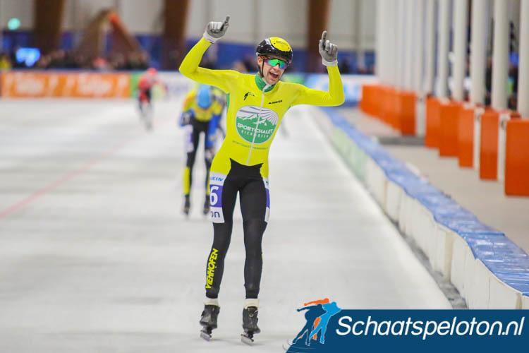 Leander van der Geest wint de finalewedstrijd van de KPN Marathon Cup bij de beloftenheren.