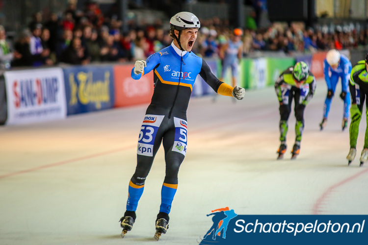 Jeroen Janissen schreeuwt het uit in vreugde, hij weet het hij is Nederlands Kampioen bij de Neo-Senioren.