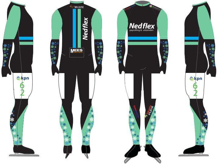 Team Nedflex verschijnt dit seizoen in een zwart pak met mintgroene armen en onderbenen op het ijs. De twee blauwe strepen op de rug en buik, die kenmerkend waren voor het schaatspak van afgelopen seizoen, blijven behouden.