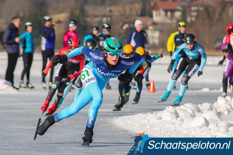 Tessa Snoek was op de Weissensee goed voor een vierde plaats tijdens de Alternatieve Elfstedentocht. Volgend seizoen komt zij uit voor BTZ.nl