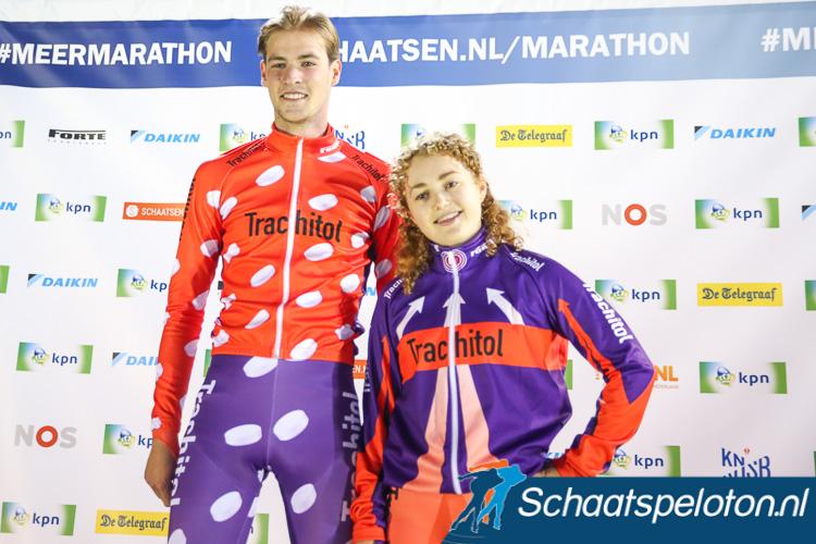 De nieuwe leiderspakken van de Trachitol Trophy: links het leiderspak van het tussensprintklassement, rechts het pak voor de leider van het algemene klassement.