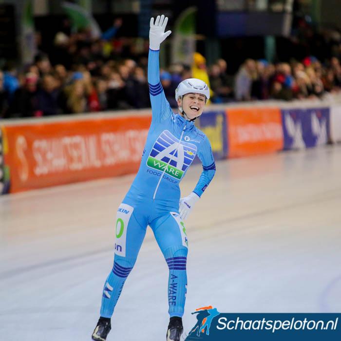 Irene Schouten weet het zij wint voor de vijfde keer het NK marathonschaatsen.