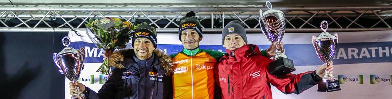 Simon Schouten wint ook op kunstijs, KPN Marathon Cup voor Sjoerd den Hertog