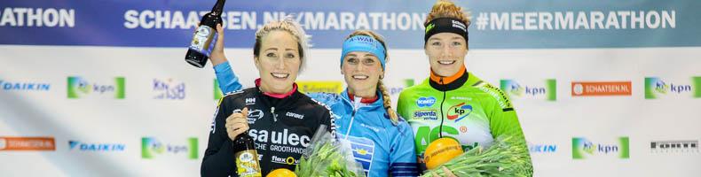 Irene Schouten wint bij herstart KPN Marathon Cup, Francesca Lollobrigida pakt oranje terug